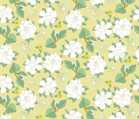 Intoxicating Gardenia fabric by denise_ortakales on Spoonflower - custom fabric