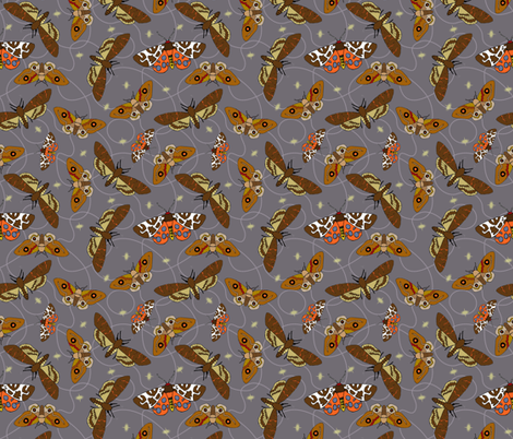 Mysterious Moths fabric by denise_ortakales on Spoonflower - custom fabric