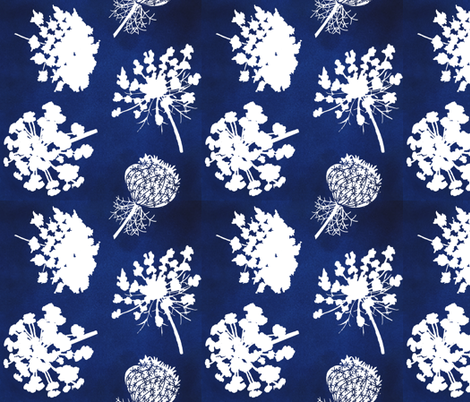 Queen Annes Lace - Navy fabric by denise_ortakales on Spoonflower - custom fabric