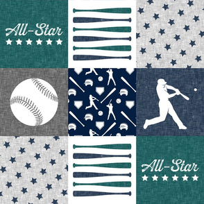All-Star - baseball patchwork - green C18BS - wholecloth