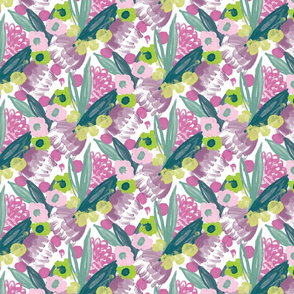 Painterly floral in green and magenta