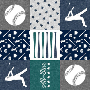 All-Star - baseball patchwork - green C18BS - wholecloth  (90)