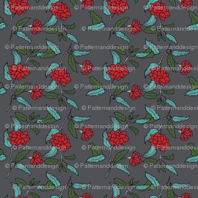 Small red ditsy trailing floral on charcoal
