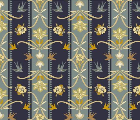 Victorian Floral Stripe - Dark Blue fabric by fernlesliestudio on Spoonflower - custom fabric