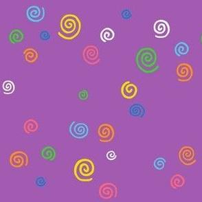 Spunky Spirals On Purple