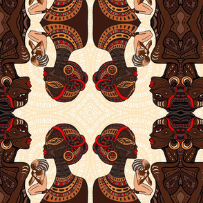 African Tribal  Women on Khaki Mandala