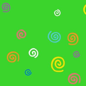 Spunky Spirals On Green Large