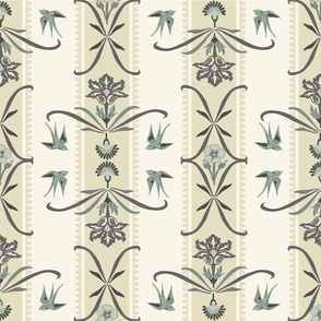 Victorian Floral Stripe - 4 - Blue, Gray, Cream