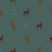 Elk Arrows Antlers Teal