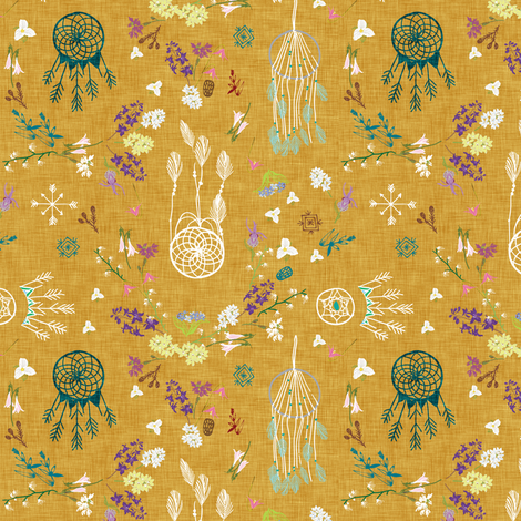 Wildflower Dreams (mustard) SML  fabric by nouveau_bohemian on Spoonflower - custom fabric