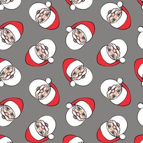 Santa Claus - toss on grey  - Christmas