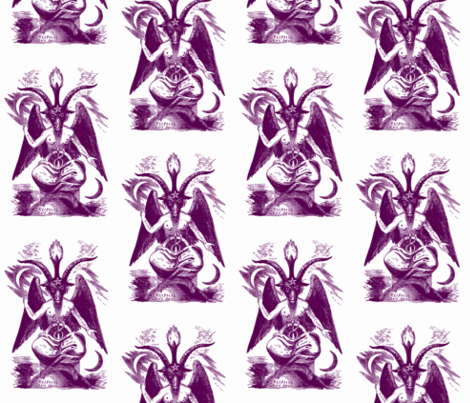 baphomet purple on white fabric by starlings_law on Spoonflower - custom fabric
