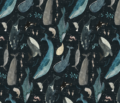Whale's song charcoal {rotated}  fabric by katherine_quinn on Spoonflower - custom fabric