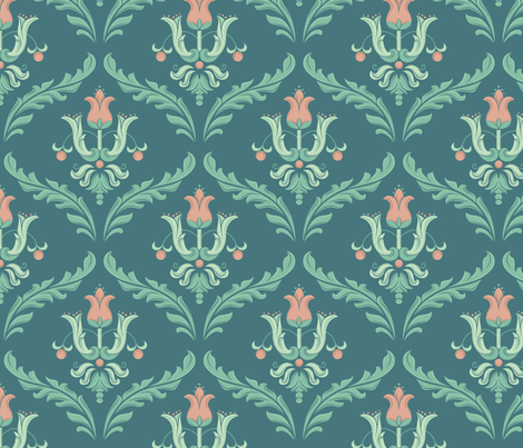 Victorian blue fabric by picture_perfect_studio on Spoonflower - custom fabric