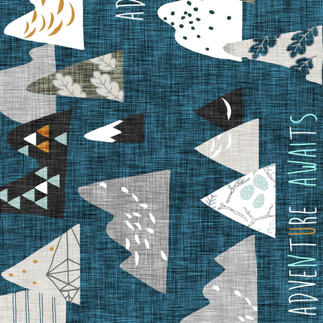 Adventure Awaits (midnight) REG Rotated fabric by nouveau_bohemian on Spoonflower - custom fabric