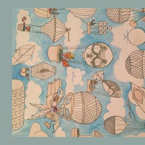 Victorian flying cats tea towel