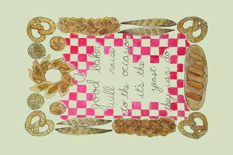 A baker's pun tea towel  fabric by swanandgooseworkshop on Spoonflower - custom fabric