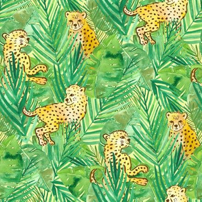 Small cheetahs in green jungle