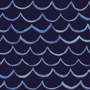 watercolour waves on navy large