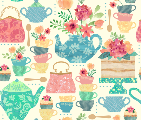 Princess Victoria's Tea Party fabric by sarah_treu on Spoonflower - custom fabric