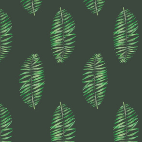 palm leave simple repeat on green