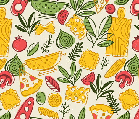 Pizza and Pasta fabric by adehoidar on Spoonflower - custom fabric
