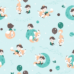 The Little Prince and The Fox - mint and brown