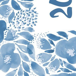 2019 Watercolour tea towel calendar blue