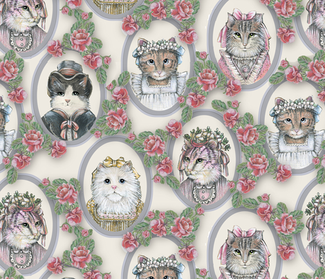 Vintage Victorian Cats with Roses fabric by lacy_and_jojo on Spoonflower - custom fabric