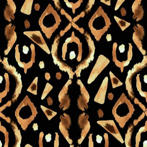 Gold Tan Brown Black  Watercolor Ikat || Home Decor _ Miss Chiff Designs