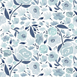 Blue rose watercolour florals blue small
