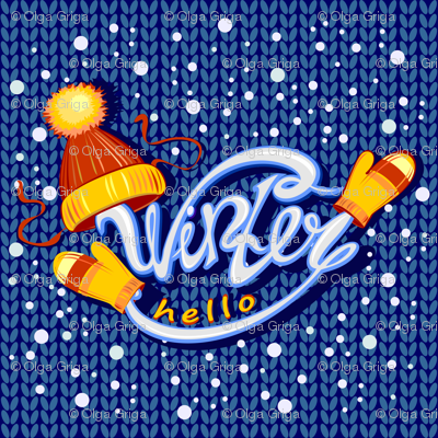 Hello winter. Knitted fabric. Funny lettering. hat and mittens. snow.