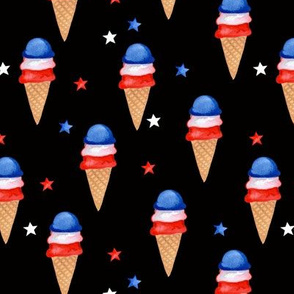 Red, White and Blue Ice Cream // Black
