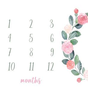 "54"" x 36"" // Garden Roses Baby Milestone Blanket"