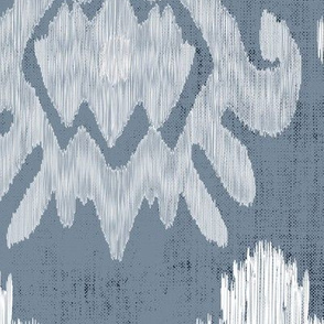 17-11E Jumbo White Ikat on Blue Slate Large Scale Home Decor _ Miss Chiff Designs