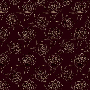 Gold rose on red dark