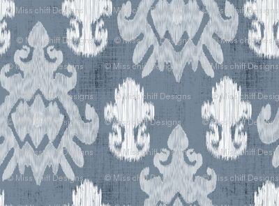 White Ikat on Blue Slate  Home Decor _ Miss Chiff Designs
