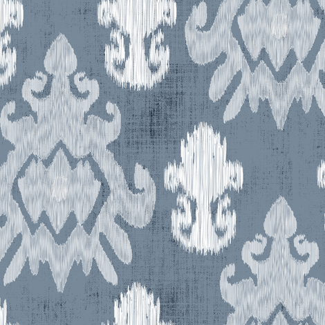 White Ikat on Blue Slate  Home Decor _ Miss Chiff Designs fabric by misschiffdesigns on Spoonflower - custom fabric