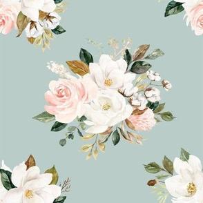 """8"""" Magnolia Watercolor Blooms // Powder Ash"""