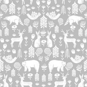 Christmas folk scandinavian winter holiday forest animals grey - medium
