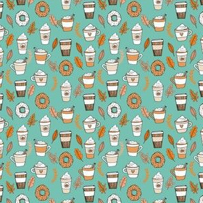 MINI - pumpkin spice latte fabric coffee and donuts fall autumn traditions mint