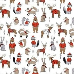 SMALL - Woodland christmas animals fabric bear fox deer raccoon white red
