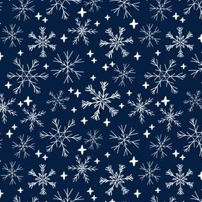 SMALL - winter snowflakes // navy blue dark blue snowflake pattern snowflake fabric cute snowflakes best xmas holiday christmas design andrea lauren fabric