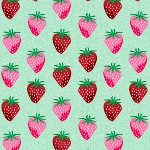 strawberry fruit summer food berry fabric mint - small