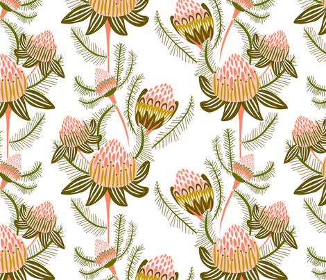 Modern Victorian Botanical Damask Ivory fabric by kirstenkatz on Spoonflower - custom fabric
