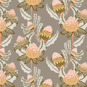 Modern Victorian Botanical Damask Grey