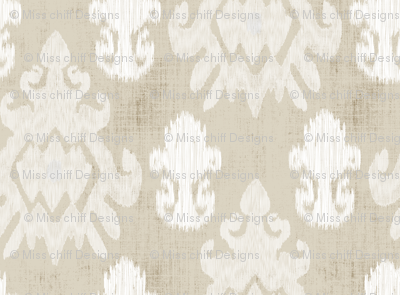 17-11B White Cream Beige Ikat on Oatmeal Tan Brown _ Miss Chiff Designs