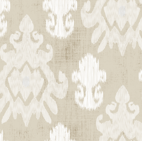 17-11B White Cream Beige Ikat on Oatmeal Tan Brown _ Miss Chiff Designs  fabric by misschiffdesigns on Spoonflower - custom fabric