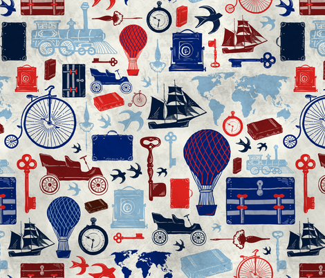 All Aboard to Explore Our Marvelous World fabric by zirkus_design on Spoonflower - custom fabric