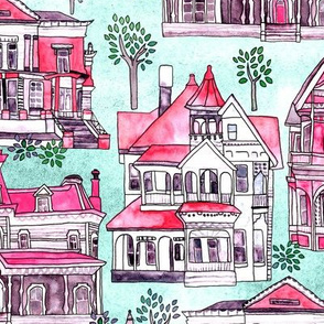 Magenta, Grey & Red Victorian Houses